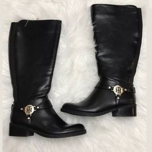 Tommy Hilfiger Twgeneo Riding Boot Wide Calf Black